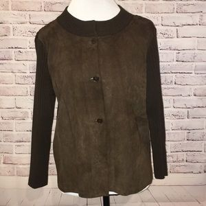 Talbots Leather Wool Jacket